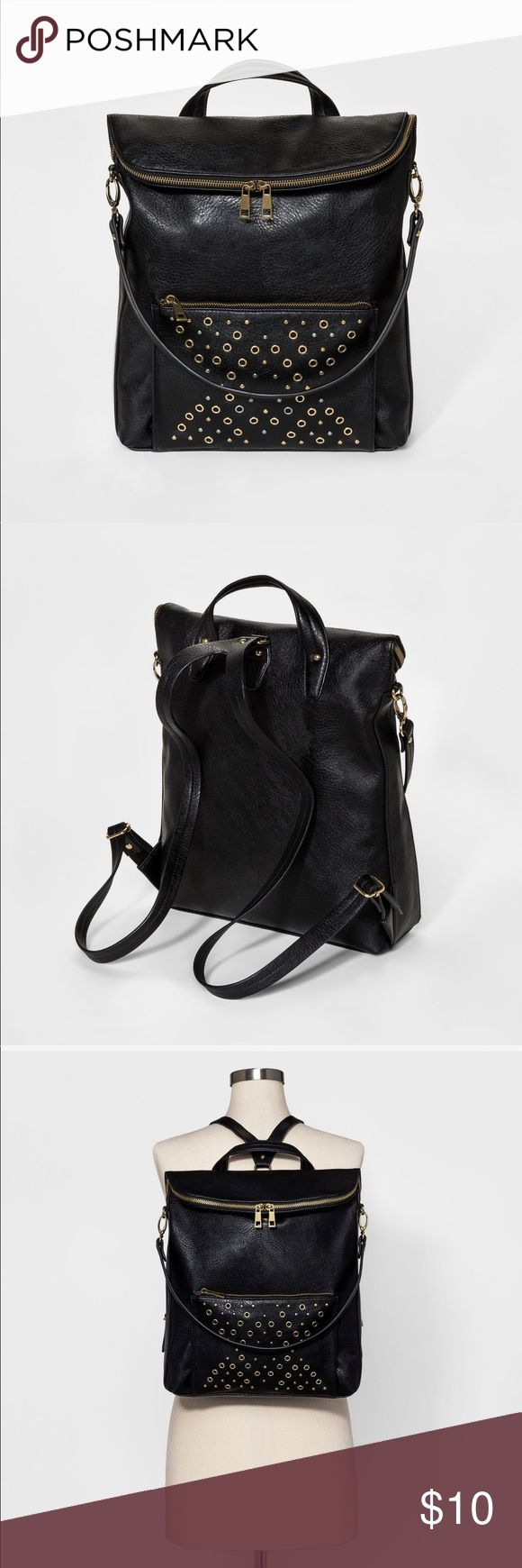 Leather Backpack Black leather chic backpack-handbag, can worn as a backpack and regular purse-handbag multi use DV by Dolce Vita Bags Shoulder Bags
