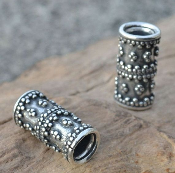 VIKING BEARD RING Sterling Silver Bead Accessory Re-enactment Reenactment Vikings 7mm Pagan Jewelry Jewellery