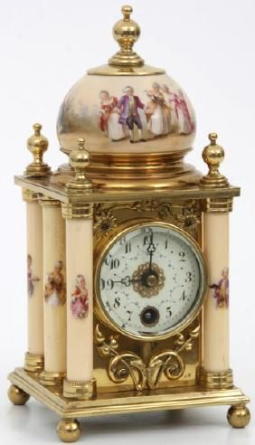 Porcelain And Brass Mantle Clock