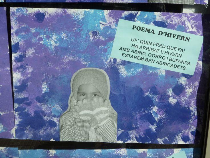 Estampació amb esponges i els colors freds amb poema d'hivern i foto del nen (P3: Escola Santa Eugènia, Girona)