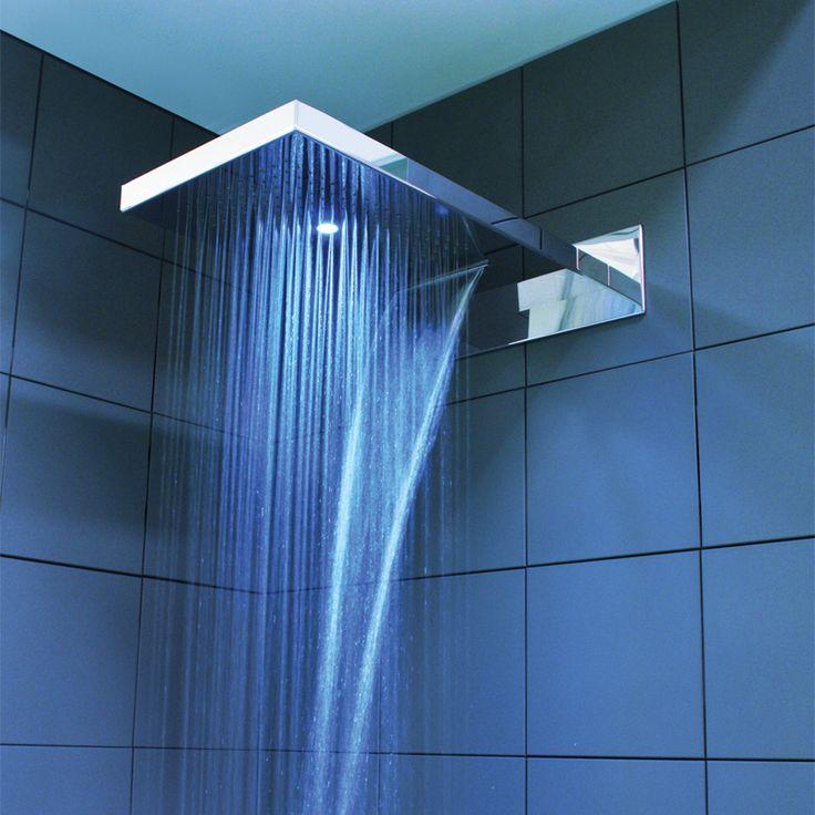 Soffione doccia con luce led rgb per installazione a parete - Illuminazione doccia con led ...