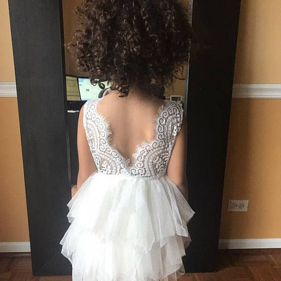 White Lace Flower Girl Dress Ivory Tulle Wedding dress Cream