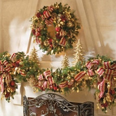 Fireplace will have Pre-lit Greenery     #Frontgate and #Holidaydecor,