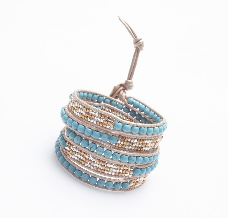 Bracelet made of silk and turquoise stones
