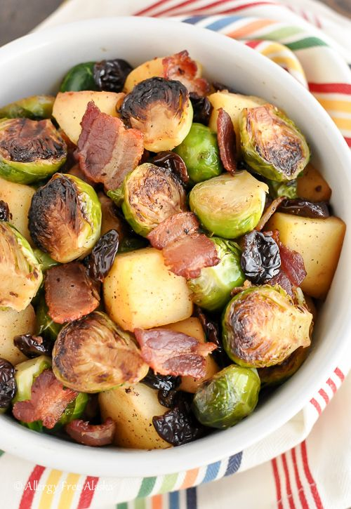 Pan Roasted Brussels Sprouts with Bacon & Apples Recipe | Allergy Free Alaska
