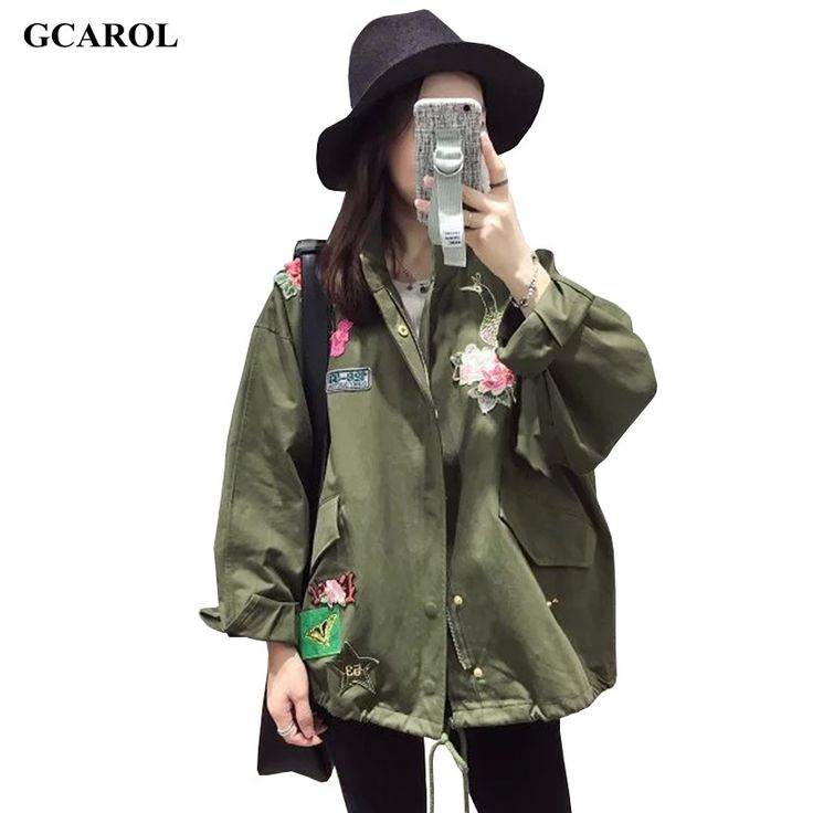 Women New Arrival Floral Embroidery Character Parker Coat Standard Collar High Quality Draw String Jacket Oversized Outwear