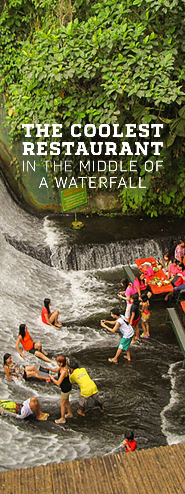 Add this specactular waterfall to your bucket list: the Labassin Waterfall Restaurant, a place in the Philippines where you can eat dinner in the middle of an actual, literal, real-life waterfall.