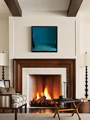 Interior by Barbara Berry, transitional fireplace design by Peter Block.