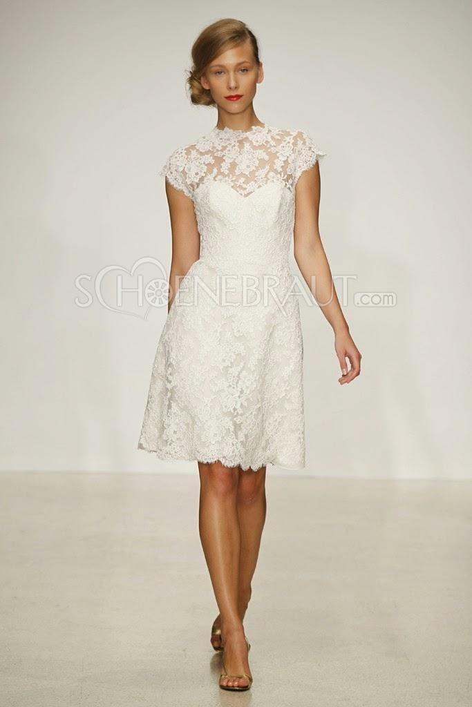 Hochzeitskleider kurz Spitze Vintage Brautkleider Standesamtkleider [#UD9264] - schoenebraut.com