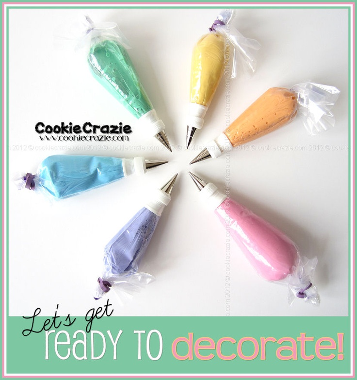This website is so amazing!!! It teaches you step by step how to decorate cookies properly, how to bag the icing, make the icing, color it, the tools you need...etc. She even teaches you how to make templates for cookies! CookieCrazie: Coloring/Bagging Icing