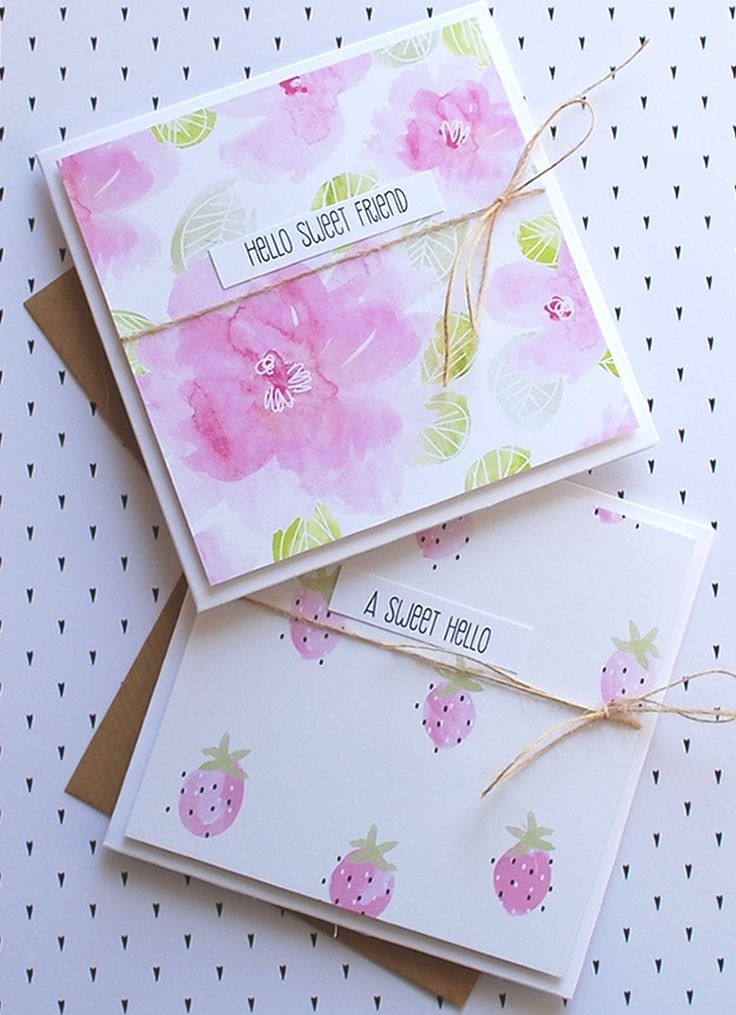 Watercolour 'Strawberry Blooms' printable pattern paper pack & 'Simplest & Sweetest' Sentiments.