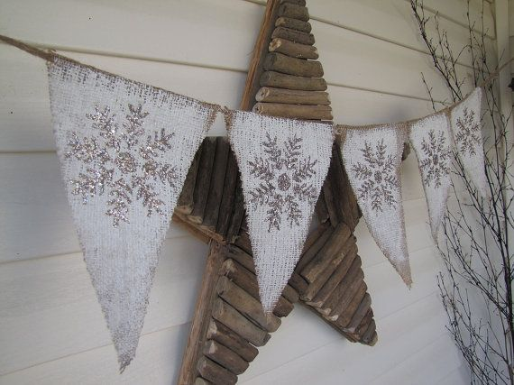 Love this! Snowflake Burlap Banner Garland Bunting Decoration Pennant...winter whites...white christmas ($28)