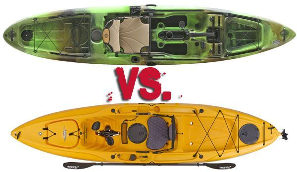 Slayer propel vs outback a comparison of two pedal kayaks for Canoe vs kayak fishing