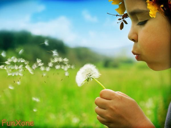 kids' photos, child blowing dandelion, could do with bubbles too