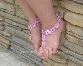 Sandali a piedi nudi, Crochet nudo piede Beach Wear, accessori di piede per le ragazze, scarpe da sposa di spiaggia a piedi nudi