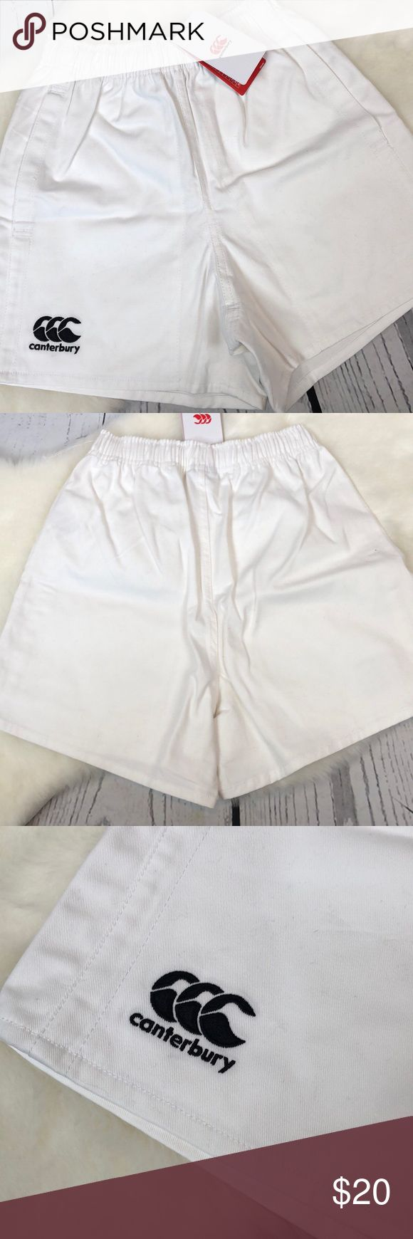 """•Canterbury• White NEW Men's Sport Shorts Rugby XS Brand new with tags ... Canterbury Men's Advantage Professional White Shorts. Size XS (waist 28-30""""). Side pockets & drawstring waist. Must have Rugby uniform shorts. Sell over $35 online. Brand new condition from a smoke free home!! Length (inseam) is 4"""". Black stitched logo. Canterbury Shorts Athletic"""