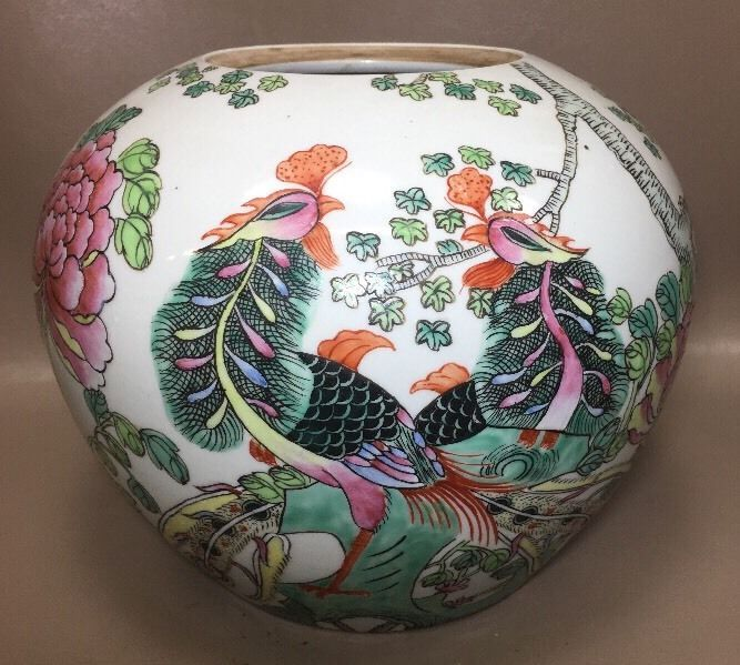 Asian Antique/Vintage? Chinese Peacock/Floral Vase Planter Jar Famille Rose? Pea  | eBay