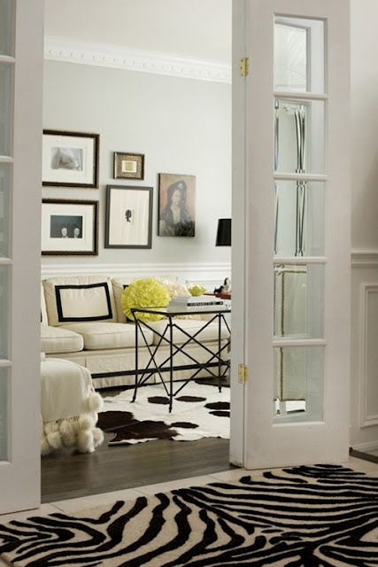 black and white: Interior, Living Rooms, French Doors, Color, Black And White, Livingroom, Black White, Animal Prints