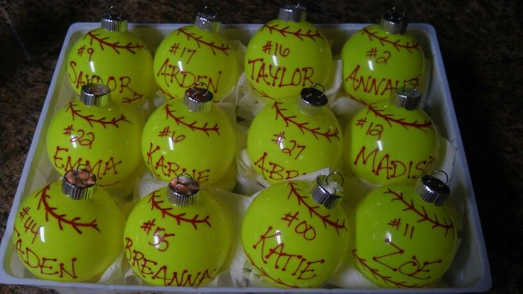 Softball Ornaments for the end of fall season gifts for the girls !