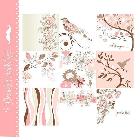 Pink Card Set - Luvly Marketplace   Premium Design Resources #cards #digitalcards
