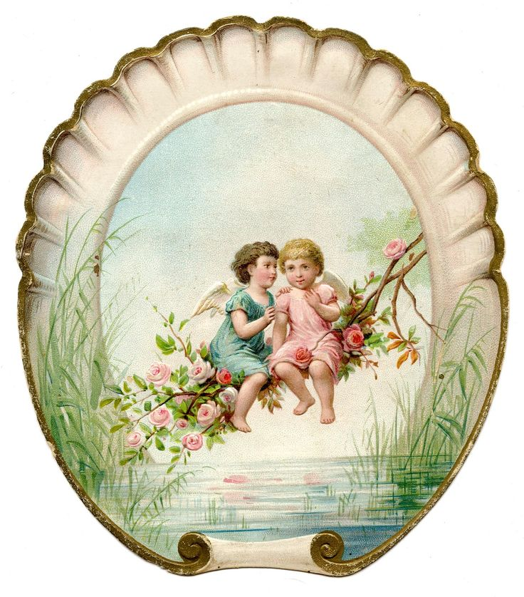 Old Image Cherubs with Seashell Frame