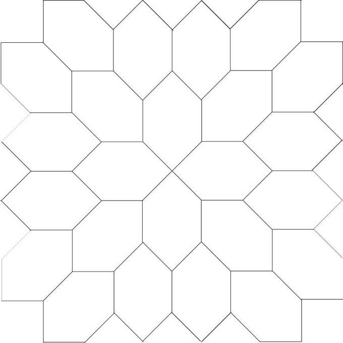 Line drawing for Lucy Boston elongated hexagon block