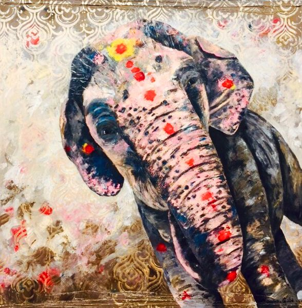New painting of the beautiful Laxmi in Hampi, India.