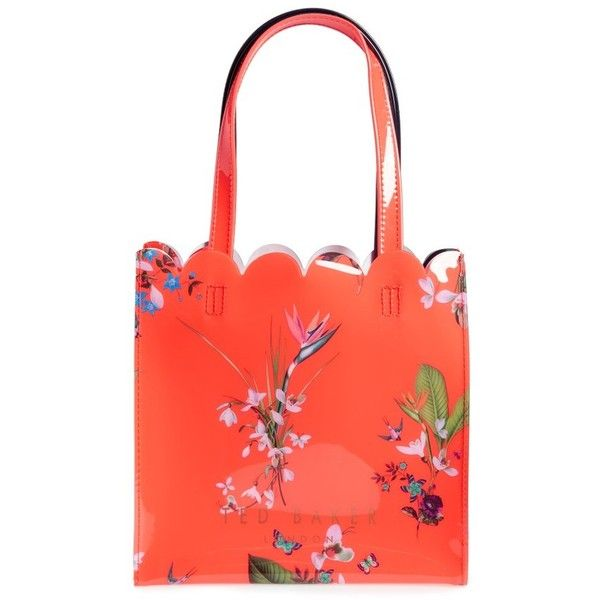 Women's Ted Baker London Tropical Oasis Small Icon Bag ($45) ❤ liked on Polyvore featuring bags, handbags, mid red, ted baker bag, red tote bag, red handbags, ted baker handbags and tote handbags