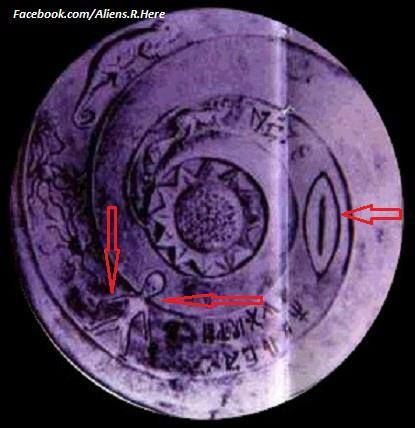 Great Alien and UFO Evidence, Alien and UFO Depiction,3000 BC in Nepal Plate!!!! A plate from Nepal, the decoration show a saucer-like shape and a large headed humanoid. From 3000 B.C