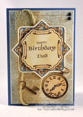 Masculine Birthday using Anchors Away and Vintage Travel Background by JustRite Papercraft. Card by Kathy Jones