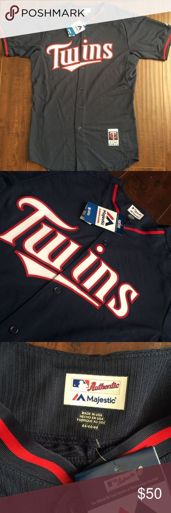 MLB Majestic Minnesota Twins Jersey Officially licensed by major league baseball Made by Majestic     Authentic decoration and trim Full chest authentic printed tackle twill application Blank on the back 100% Polyester Machine washable Button-down front Team specific locker tag at front lower left of jersey Majestic Other