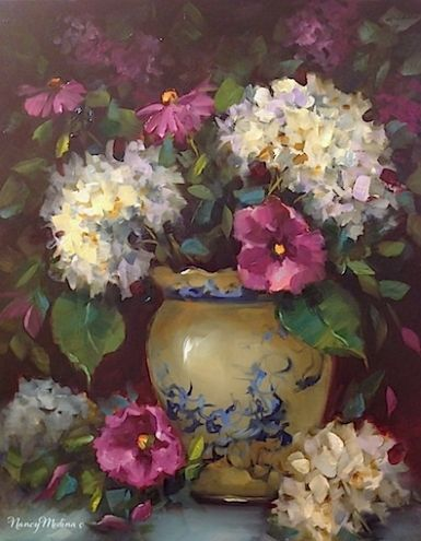 Rose of Sharon and White Hydrangeas by Floral Artist Nancy Medina, painting by artist Nancy Medina
