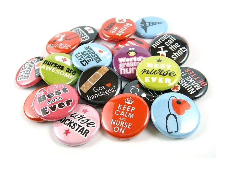 Nurse Appreciation Buttons - Set of 24 Pin Back or Flatback Buttons - nurse love, nurse gifts, nurse buttons, nurse pins. $9.75, via Etsy.