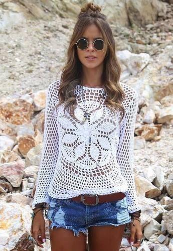 Meu Mundo Craft: Blusa em crochê para meia estação