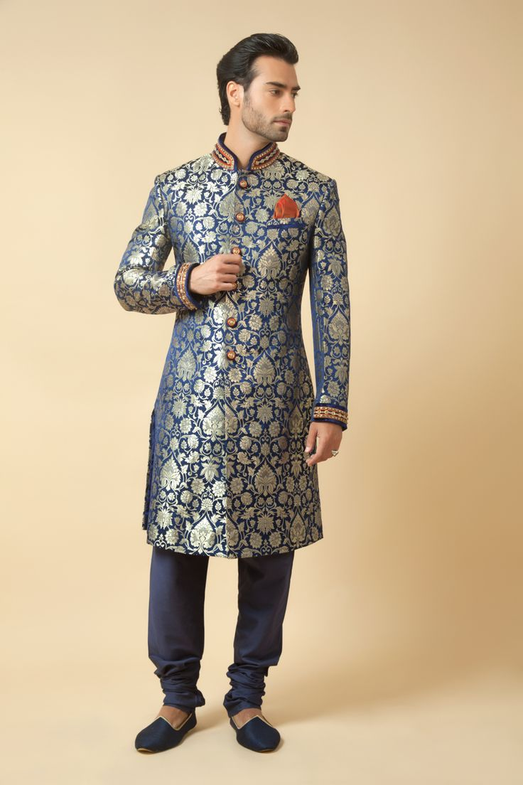 Pure brocade sherwani embellished with zardozi work. Item number M15-120