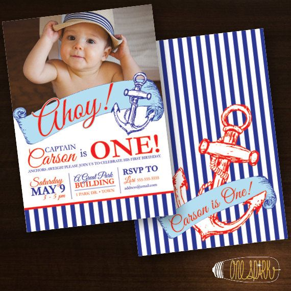 Nautical Birthday Party Custom Invitation Sailor by OneSparkStudio