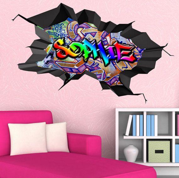 Personalised Custom Graffiti Name Wall Art Stickers Decor For