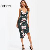 COLROVIE Floral Acanalada Vestido de Terciopelo Arrugado Dobladillo Asimétrico Mujeres Resbalón Midi Vestidos de Verano 2017 Sexy Bodycon Del Partido Del Vestido Verde