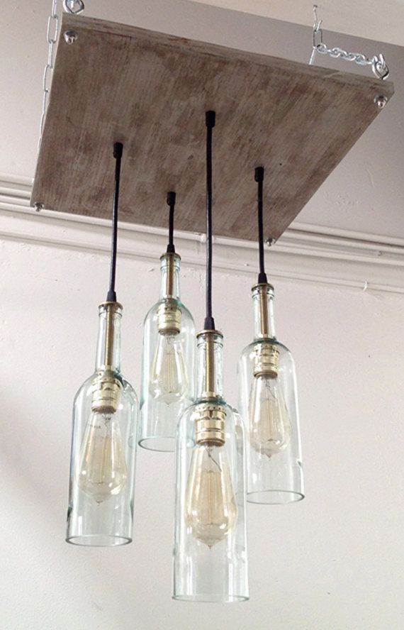 Recycled Wine Bottle Chandelier: Industrial Chandelier, Cottage Chic Lighting, Industrial Lighting, Modern Lighting, Mid-Century Decor