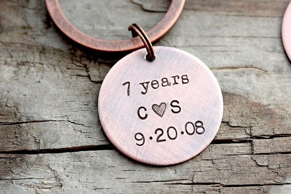Mens Keychain 7th Year Copper Anniversary Gift by ChicMamaDesigns