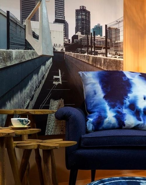 Blue Sea Marble cushion featured in 100 Beautiful Things exhibit at 100% Design South Africa / bbellamy&bbellamy artists' textiles