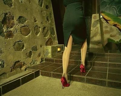 Seamed stockings and a pencil skirt. Scorchio!
