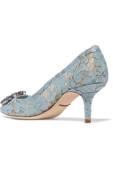 Dolce & Gabbana - Crystal-embellished Lace Pumps - Light blue - IT35.5