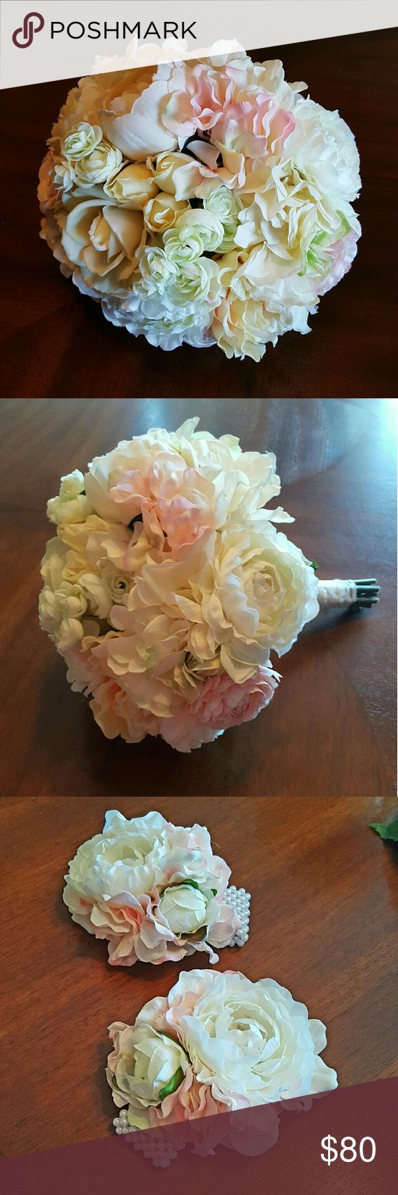 NEW HANDMADE SILK FLOWER BRIDAL BOUQUET 5 PIECES! One of a kind, handmade bridal bouquet grouping made of realistic pink and ivory silk peonies, roses, and hydrangeas. Included is the bridal bouquet, a smaller bridesmaid's bouquet, 2 mother's bracelet corsages with faux pearls, and a boutonniere for the groom. The large bridal bouquet measures approx 12 in in diameter and the maid-of-honor bouquet is approx 10 in across. Stems are wrapped in white lace with pearl pins. These were specially…