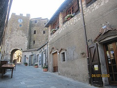 The entrance in the old medieval village, Capalbio, Silver Coast, Maremma, Tuscany, Italy