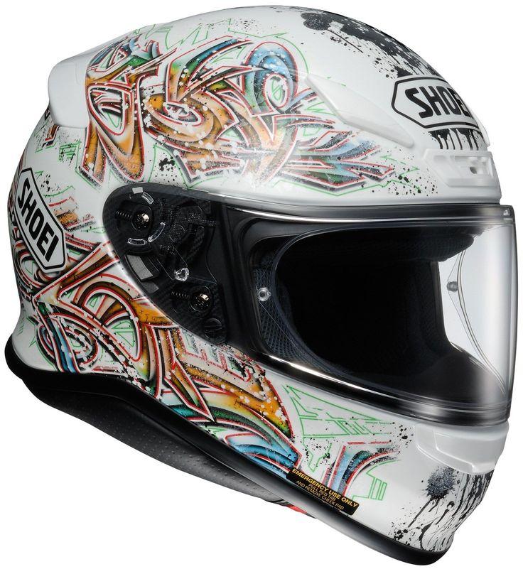SHOEI RF-1200 GRAFFITI TC-6  White Motorcycle Helmet