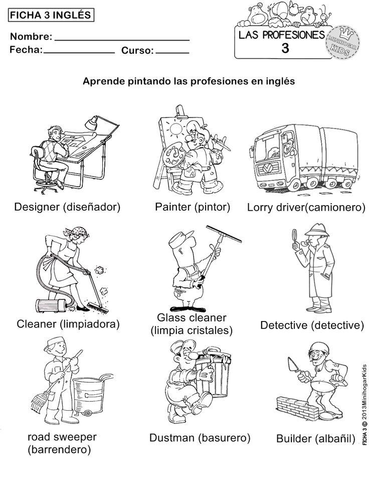 FICHAS 1,2,3,4 y 5 para que los alumnos aprendan pintando, cómo se llaman en inglés algunas de las muchas profesiones que...