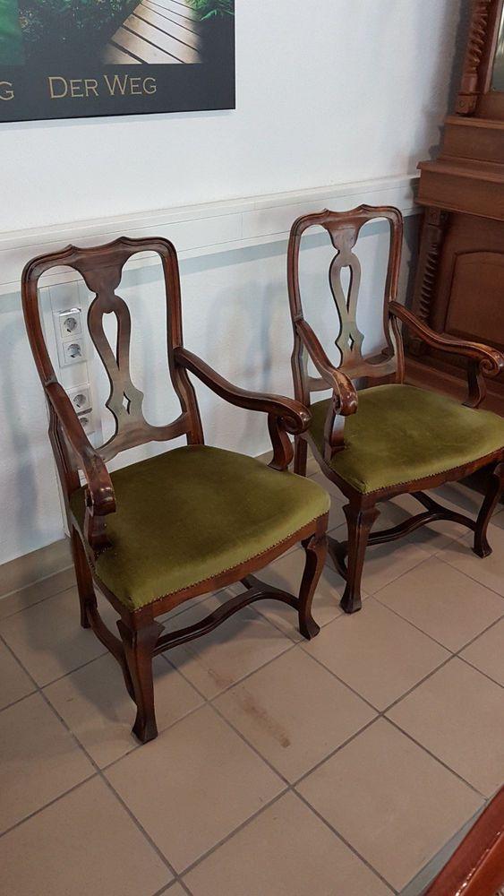 2x Antiker Stuhl Sessel Gründerzeit Massiv Biedermeier Jugendstil Stühle  Thron