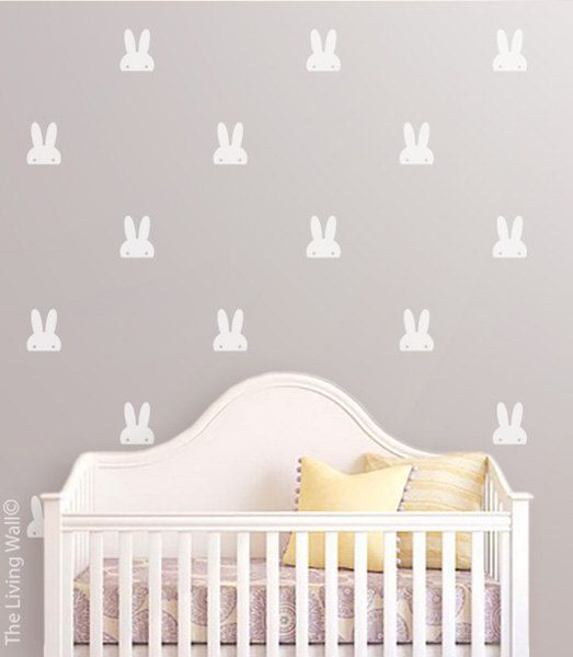 Pet Bunny Ears Wall Sticker, White Bunnies wall art for nusery room, Bunny Pattern Wall Decal