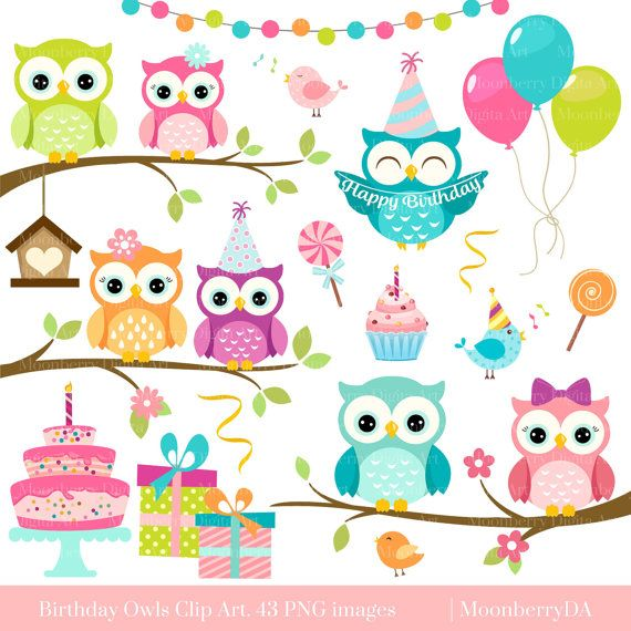BIRTHDAY OWLS CLIP ART  This clip art pack features 43 cute elements perfect for scrapbooking, cards, web design, graphic design, invitations, handmade craft items, printed paper items and so much more!  ✽ YOU WILL RECEIVE - 43 elements - each element is approximately 6 (1800px) at the widest point - high quality 300dpi PNG files with transparent background - watermark will not appear on purchased files  ✽ INSTANT DOWNLOAD Once the payment is completed, an email will be sent to the email…
